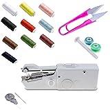 SAGESSE Mini Nähmaschine Tragbare Handnähmaschine Schnellstichwerkzeug für Vorhang Kleidung Stoff Schal