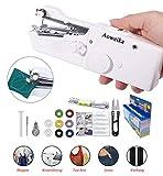 Aoweika Mini Handheld Nähmaschine 15 pcs Tragbar Elektrische Handnähmaschine Schneller Handlicher Stich für Stoff Kleidung Kindertuch(Heim/Reisenutzung)