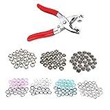 Trimming Shop 100 Stück X 9.5mm Schnapphaken Poppers Verbindungen - Bunt Zacken Ring Druckknöpfe für Strampler, Lätzchen, Custom Clothing oder DIY Projects (4 Farben)