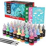Magicfly Waschfest Stofffarben, 40 Farbige 3D Wasserfest Textilfarbe | 30 ml Pro Flasche | Stoffmalfarben Besondere Farben für Kinder Ideal für Kleidung Glas Holz Textil Stoff Leinwand Keramik
