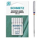 SCHMETZ Nähmaschinennadeln: 5 Microtex-Nadeln, Nadeldicke 80/12, 130/705 H-M, auf jeder gängigen Haushaltsnähmaschine einsetzbar, geeignet für besonders dichtes, feines Gewebe