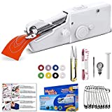 Aoweika Mini Nähmaschine, Handheld Elektrisch Handnähmaschine Portable Hand Sewing Machine Schnellreparatur Stoff Leder Denim Leinwand für Kinder Anfänger