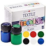 Nevskaya Palitra Textilfarbe Set   6 x 20 ml   Stoffmalfarben waschfest   Qualität von Decola